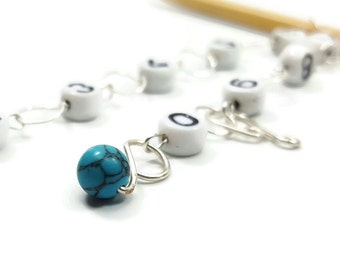 Turquoise Row Counter - Number Chain Row Counter - Knitting Row Counter - Counts 100 Rows - Choose Small, Medium, Large, or XL