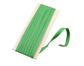 "7mm Wide Vintage Leftover Bundle of Double Fold Cotton Bias Tape Sewing Edge Trim - Solid Summer Green (73"" / 2yds)"