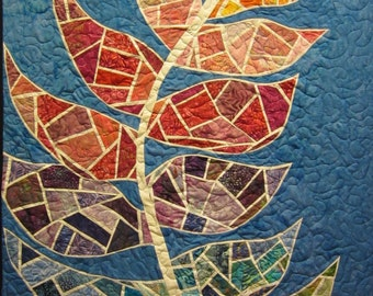 Gaudi Leaf Wall Hanging Art Quilt