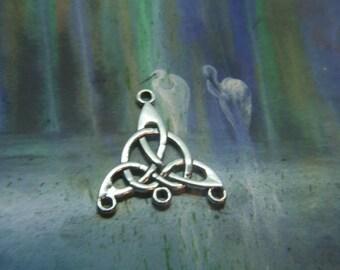 Celtic Chandelier Pendant Silver Earring component Charm 2 sided 3D pendant