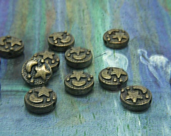 Antique Gold Bronze Moon and Star metal beads - flattened Round spacer