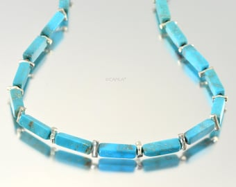 Silver Turquoise Linear Necklace