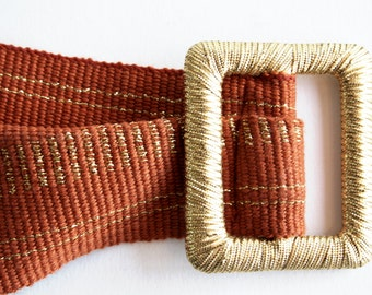 Vintage Burnt Orange and Gold Thread Tapestry Style Belt