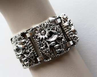 Vintage Filigree Silver Tone Floral Costume Jewelry Clasp 70's Style Bracelet