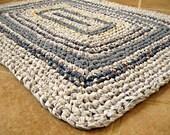 "Crochet rectangle / square rag rug, mat, bath mat. Blue, rustic, folk, cottage, country, farmhouse, eco, 30"" X 23""."