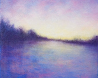 Marsh Sunset Blue Pink and Purple Abstracted Landscape Painting
