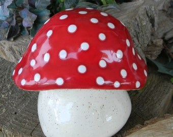 Fairy Garden Toadstool Ceramic MUSHROOM Statue med  RED AMANITA fly Fairy Garden Toadstool  Gnomes red  pottery ready to ship
