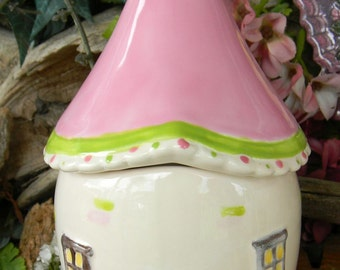 Fairy Garden House     Ceramic Pink Green  amanita muscari Fly -   Container for storage