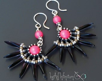 Solstice Beaded Earrings Neon Pink Sterling Silver Black