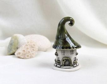 Green olive house of tiny fairies -- Hand Made Ceramic Eco-Friendly Home Decor by studio Vishnya