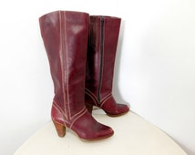 Vintage 70s Burgundy Oxblood Tall Leather Boots Bohemian Stacked Heel Boho Arrow Stitch 6.5