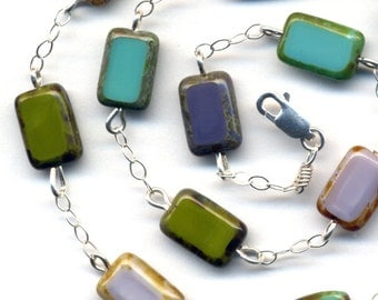 Sterling Silver Green and Lavender Necklace with Hand Made Hand Polished Green Czech Beads