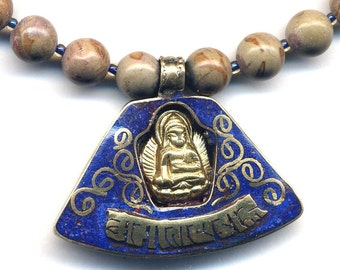 Buddha Tibetan Pendant, Nepalese Necklace with Lapis and Gold Buddha, Buddhist Jewelry, Ethnic Jewelry, Handmade Nepal Jewelry by AnnaArt72