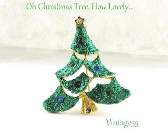 Brooch Christmas Tree Green Glitter Rhinestone