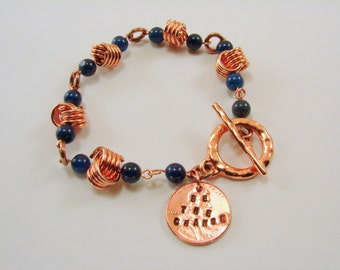 Copper Love Knot and Duetermite Gemstone Bracelet with Copper Penny Hand Stamped