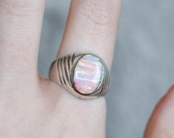 Pink Banded Opal Ring Size 9