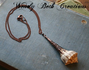 Lightning Whelk Sea Shell - Mermaid Trinket Collection - Steampunk Necklace