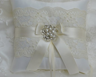 Wedding Ring Bearer Pillow Ivory Chantilly Lace And Ivory Satin With Bridal Brooch Ringbearer Pillow