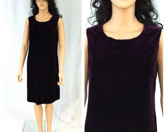 Vintage Eggplant Purple Velvet Dress. Sleeveless. Medium. 1980s. Classic Dress. Everyday Dress. Simple. Under 20.