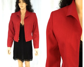 Vintage Red Silk Wool Jacket. Markstone Petites. Size 8P. Holiday Christmas Jacket. Structured Jacket. Under 30. Medium.