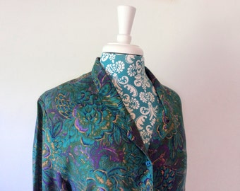 vintage 1970's blouse // teal purple Fall print // 70's Gordon of Philadelphia