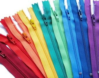 YKK Zippers in Assorted Colors Set of 9 Colors - YKK Nylon Zippers