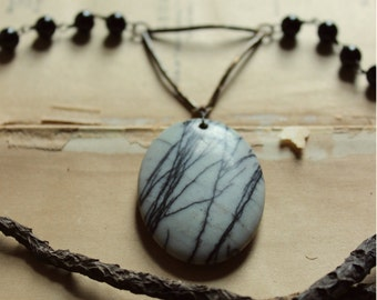 Ogham. Rustic Primitive Bohemian Hand Beaded Onyx, Smoky Quartz & Spiderweb Jasper Necklace.