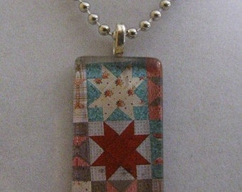 Quilt Design Glass Pendant Necklace - Great for Quilters