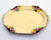 Modernist Art Deco Platter or Serving Tray: Deco Tulip aka Paris, 1920's Pattern by Sebring's Crescent China Sienna/Leigh Ware