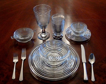 Anchor Hocking 'Manhattan' - Jazz Age Art Deco Dinnerware, Huge Extended Set for 10, Crystal Clear Ribbed Depression Glass