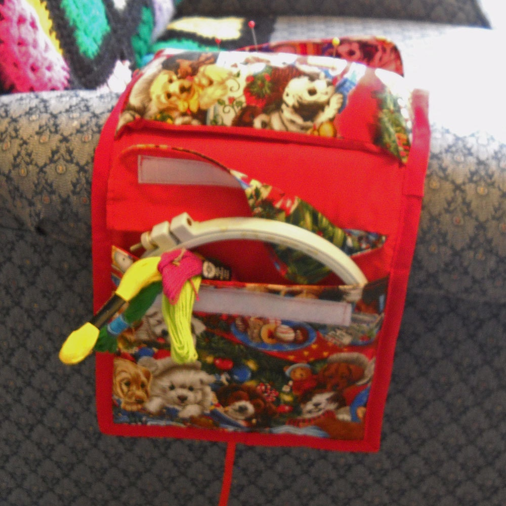 Holiday Pups Armchair Sewing Caddy Hand Sewing Organizer