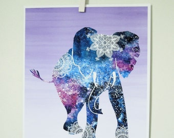 Bohemian Elephant Print /Mandala Elephant Art / Galaxy Blue Purple Lavender Ombre / Bohemian wall decor / Zen Room