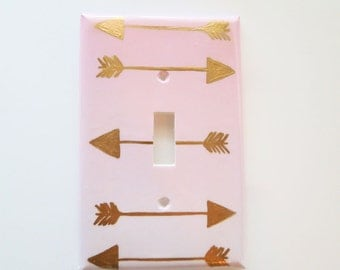 Tribal Arrows Switchplate, Pink Ombre and Gold Single switchplate, Ombre double lightswitch, Tribal Rocker Cover, Electrical Cover