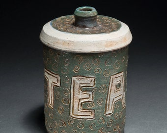 Clay Ceramic Tea Caddy Container Jar With Lid Green and White