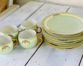 HUTSCHENREUTHER Selb Bavaria Dish Set Shabby Chic Pink rose Green 1940s Vintage