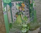 St Patricks Day Card Handmade Vintage Style