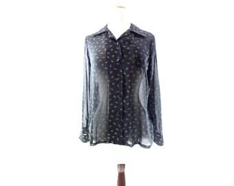 1970s Vintage Blouse, Boho Floral Blouse, Black Sheer Blouse, Black Button Up, 70s Black Floral Top, Sheer Black Shirt, s
