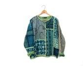 RESERVED Embroidered Tribal Jacket Button Up Batik Blue Green Cotton Jacket Patchwork Ethnic Print Light Fall Spring Jacket Boho Hippie
