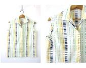 Retro Print BLOUSE White Summer Vintage 60s Top Retro Sleeveless Shirt Button Up Blouse 1960s Tshirt Mod Size Medium Top Loop Button