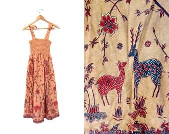 Hippie Tank Dress DEER FLORAL Print Festival Sun Dress Vintage 80s Cotton Ruched Sundress Peach Boho Fantasy 70s Tree Print Dress XS Small