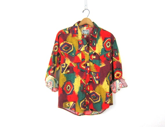 80s western Wrangler shirt red Tribal button down shirt cowgirl southwestern Hipster cowboy vintage women's size Large