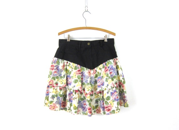 1980s Floral Mini Skirt Revival Black Denim Jean Skirt Flower Print Ruffle Skirt Preppy Mini Skirt Vintage Size 11 Medium Large