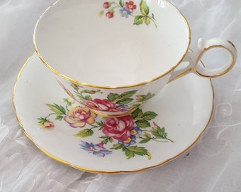 Southerland Made in England  Tea Cup and Saucer Soft Roses Birthday or Bridal Gift BridesMaids just add your own Tea Bags