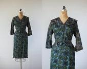 SALE// on hold // 1950s vintage suit / 50s cocktail outfit / 50s green blue skirt suit / 50s jacket skirt set / 50s dress set / large
