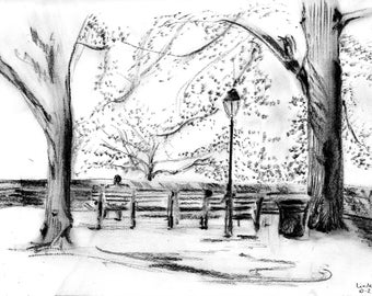 Linden Terrace - Ft Tryon Park - pencil and charcoal drawing - print of original sketch
