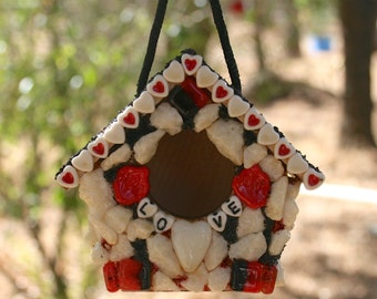 Valentine Day Birdhouse, Small Birdhouse,  Love You, Red Hearts, Hanging Miniature Birdhouse, Birdhouse Ornament