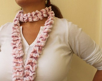 50% CLEARANCE SALE Ruffle Scarf Pink and  White