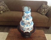 Blue chevron baby sHower Diaper Cake Elephant Three tier cake other colors and sizes available too