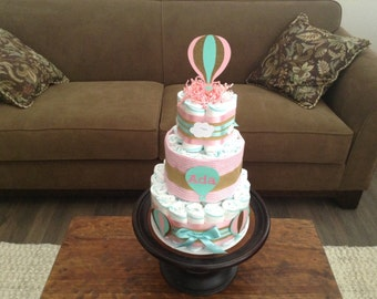 Hot air balloon diaper cake baby shower centerpiece gift other colors and sizes.