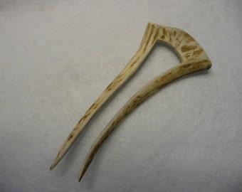 Deer Antler Hand Carved Hair Fork Stick Comb  #83
